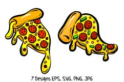 Cartoon Pizza Slices in SVG, EPS, PNG, JPG Files Product Image 3