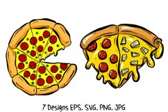 Cartoon Pizza Slices in SVG, EPS, PNG, JPG Files Product Image 5