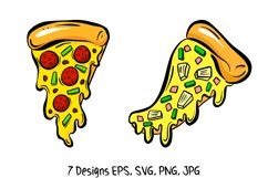 Cartoon Pizza Slices in SVG, EPS, PNG, JPG Files Product Image 2