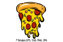 Cartoon Pizza Slices in SVG, EPS, PNG, JPG Files Product Image 4