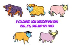 Highland Cow Cartoon Collection PNG, JPG, ESP, Pattern, SVG Product Image 2