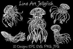 White Line Art Cartoon Jellyfish Octopus Deep Sea Creatures Product Image 1