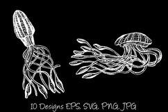 White Line Art Cartoon Jellyfish Octopus Deep Sea Creatures Product Image 5