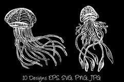 White Line Art Cartoon Jellyfish Octopus Deep Sea Creatures Product Image 6