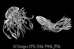 White Line Art Cartoon Jellyfish Octopus Deep Sea Creatures Product Image 2
