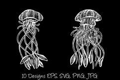 White Line Art Cartoon Jellyfish Octopus Deep Sea Creatures Product Image 4