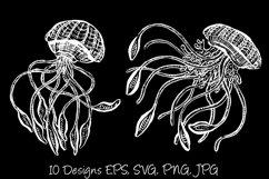 White Line Art Cartoon Jellyfish Octopus Deep Sea Creatures Product Image 3