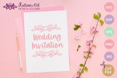 Floral heart text divider, leaves decorative svg cut file Product Image 4
