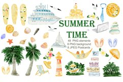 Summer. Watercolor Clipart. Watercolor Holiday rentals set. Product Image 1