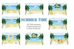 Summer. Watercolor Clipart. Watercolor Holiday rentals set. Product Image 2