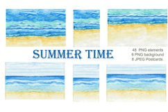 Summer. Watercolor Clipart. Watercolor Holiday rentals set. Product Image 5