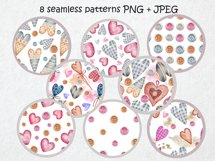 Watercolor set of textile hearts Product Image 3