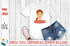 Girl portrait PNG, JPEG file. Woman face clipart. Female PNG Product Image 2