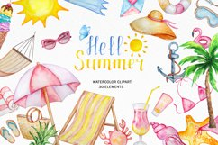 Tropical Clip Art - Watercolor Summer Clipart Product Image 1