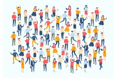 Isometric people crowd. Large people group, different male a Product Image 1