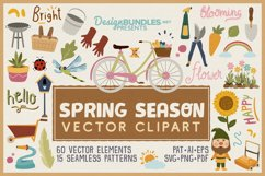 Spring Season Vector Clipart & Seamless Patterns Product Image 1