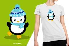 Baby Penguin Blue Scarf T-Shirt Design | Sublimation T-Shirt Product Image 5
