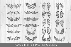 Set of hand drawn angel or bird wings. Vector clipart. SVG. Product Image 1