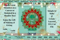 Layered Vintage Wreath SVG Christmas Card Decal 3D Cut File Product Image 2