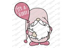 It's A Girl - Gnome with Balloon - Announcement Cut File SVG Product Image 2