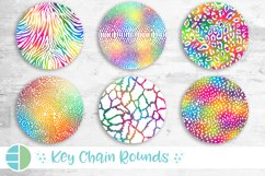 Animal Print Rainbow Glitter Keychain Bundle Key Ring Product Image 1