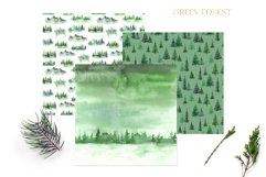Watercolor Green Fores Digital Papers Product Image 4
