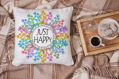 Just Happy Sublimation | Rainbow Wreath | Positive Quotes Product Image 2