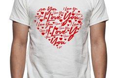 I Love You Heart Tee Shirt Design Product Image 1