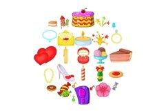 Venue icons set, cartoon style Product Image 1