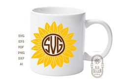 Sunflower SVG & Sunflower Monogram Frame SVG Cut Files Product Image 5