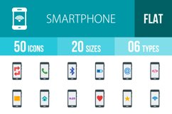 50 Smartphone Flat Multicolor Icons Product Image 1