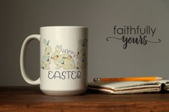 Happy Easter with floral bunnies png jpeg Sublimation Design Product Image 3