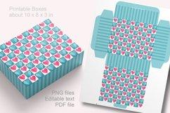 Blue Valentine Printable Rectangular Treat Boxes PDF PNG Product Image 2