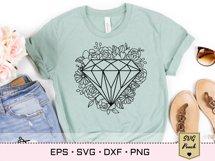 Diamond floral frame SVG Product Image 3