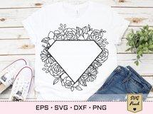Diamond floral frame SVG Product Image 2