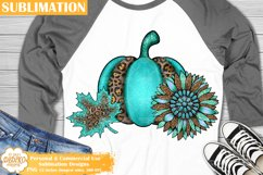 Fall Sublimation, Leopard Sunflower Pumpkin Png, Western Png Product Image 1