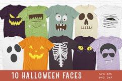 Halloween Faces svg - Kids Halloween Shirt svg png dxf Product Image 1
