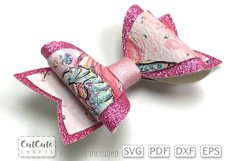 Double Pink Hair Bow Templates cut files Product Image 2