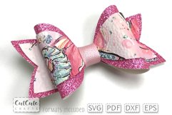 Double Pink Hair Bow Templates cut files Product Image 3