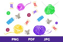 Elements of a knitting set with mice for creative design Product Image 1