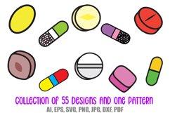 55 Drugs and Pills Logo Cartoon Illustration Designs SVG PNG Product Image 3