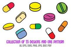 55 Drugs and Pills Logo Cartoon Illustration Designs SVG PNG Product Image 5