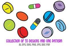55 Drugs and Pills Logo Cartoon Illustration Designs SVG PNG Product Image 4