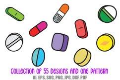 55 Drugs and Pills Logo Cartoon Illustration Designs SVG PNG Product Image 6