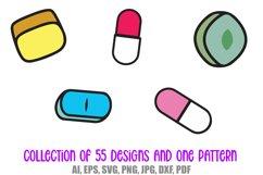 55 Drugs and Pills Logo Cartoon Illustration Designs SVG PNG Product Image 2