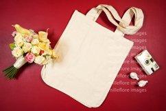 Wedding Bridal Tote Bag Flatlay SVG Craft Mockup Photo Red Product Image 2