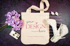 Wedding Bridal Tote Flatlay SVG Craft Mockup Photo Purple Product Image 1