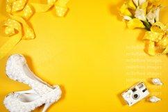 Wedding Framed Border Background Flatlay Styled Photo Yellow Product Image 1