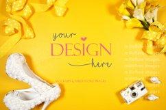 Wedding Framed Border Background Flatlay Styled Photo Yellow Product Image 2