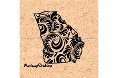 Georgia State png, Floral Mandala Decor SVG Cut File Product Image 1